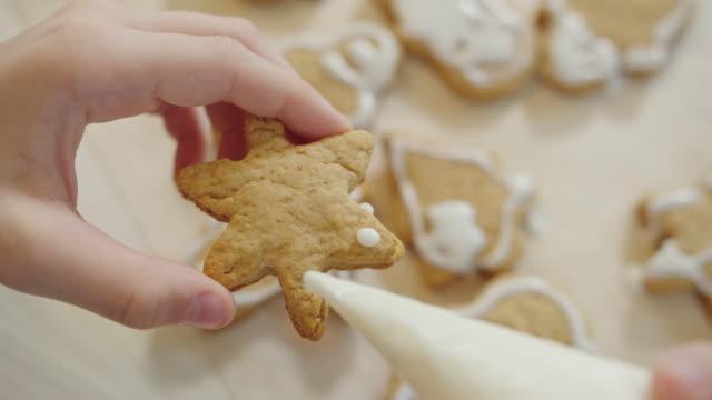vídeos de stock e filmes b-roll de close-up of christmas cookies decoration - christmas cake