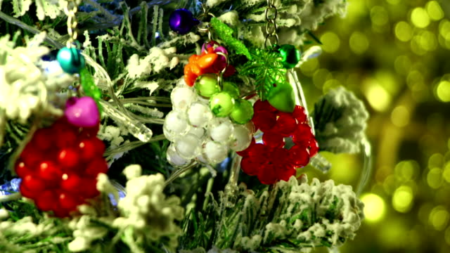 close-up of christmas tree decorations loop video