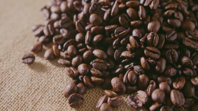 Closeup Of Coffee Beans On Hessian Sack 4K video