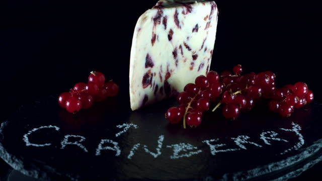4K Close-up of Cranberry Cheese with Red Currant video