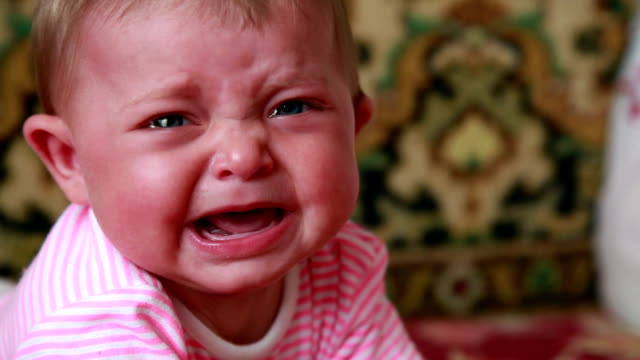 Close-up of crying baby video