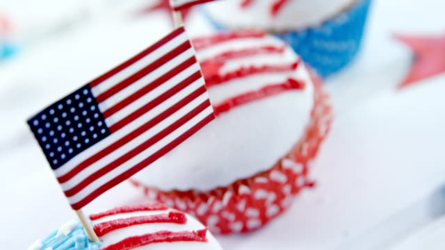 Close-up of cupcakes decorated with 4th july theme video