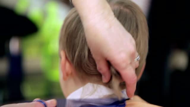 primo piano di taglio di capelli. - bassino video stock e b–roll