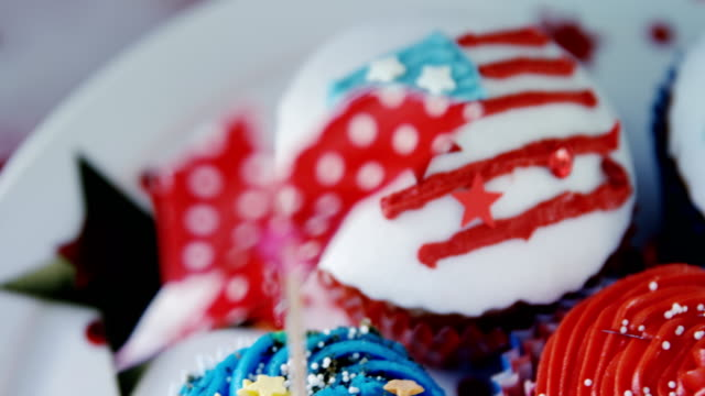Close-up of decorated cupcakes video