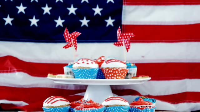 Close-up of decorated cupcakes with 4th july theme video