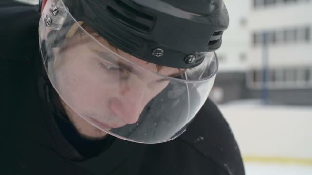Closeup of Determined Ice Hockey Player video