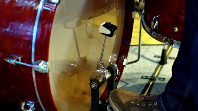 Closeup of drummer's foot moving drum bass pedal video