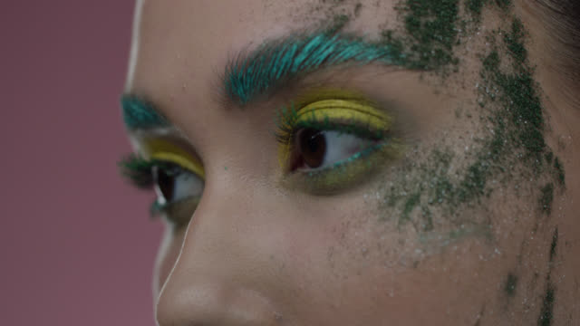 Close-up of fashion model's parts of face in colorful stage make-up. Fashion video. Captured in 7K R3D Red Helium. 4K ProRes 4444. eyeshadow stock videos & royalty-free footage