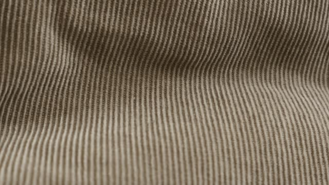 Close-up of fine cotton corduroy twisted fibers 4K