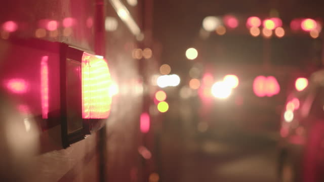 Close-Up of Fire Engine with Warning Lights. Fire Truck at Night. video