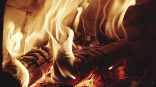 Close-Up Of Flames In Fireplace Close-Up Of Flames In Fireplace firewood stock videos & royalty-free footage