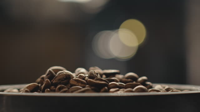 Close-up of fresh roasted coffee beans