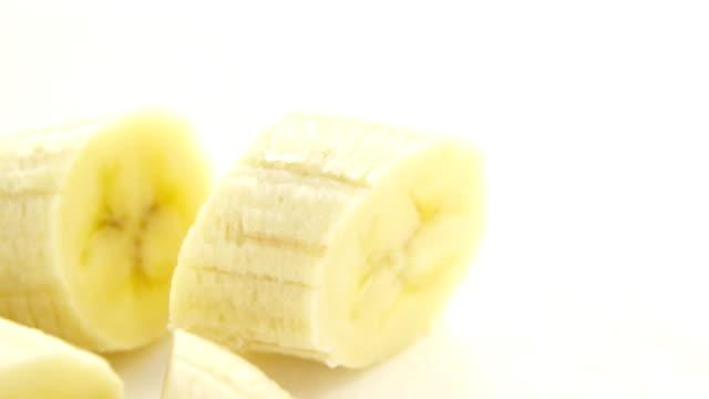 Close-up of fresh sliced bananas video