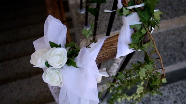 Close-up of green and white flowers decoration video