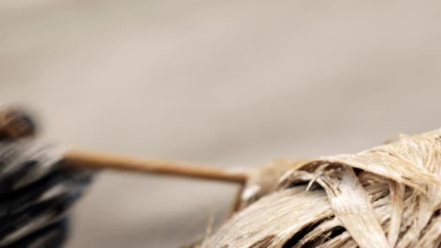 nahaufnahme des friseurs, der haarfärbemittel anwendet - haartönung stock-videos und b-roll-filmmaterial