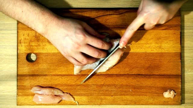 Closeup of hands slicing meat slices. video