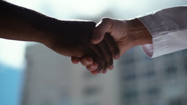 Close-up of handshake African american man and white woman on background of window and cityscape.