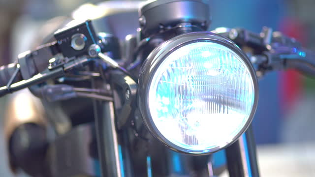 Close-up of Headlight on a motorcycle
