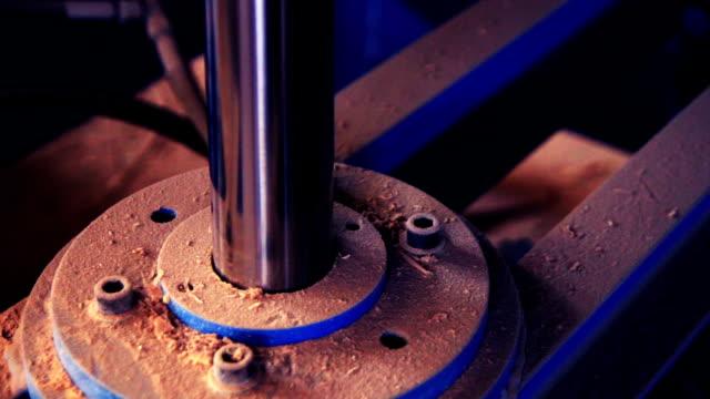 closeup of heavy machine - hydraulic press moving down video