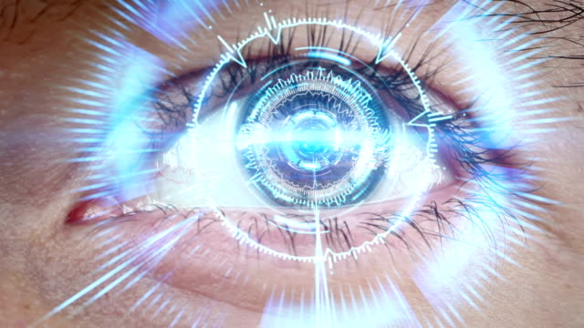 close-up of high tech cyber eye video
