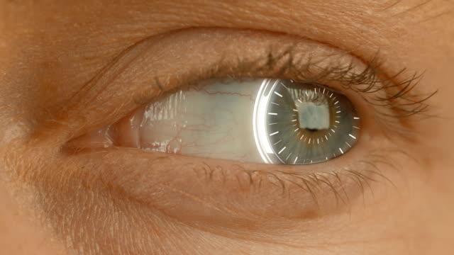 close-up of high tech cyber eye video