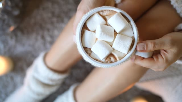 Closeup Of Hot Chocolate With Marshmallow