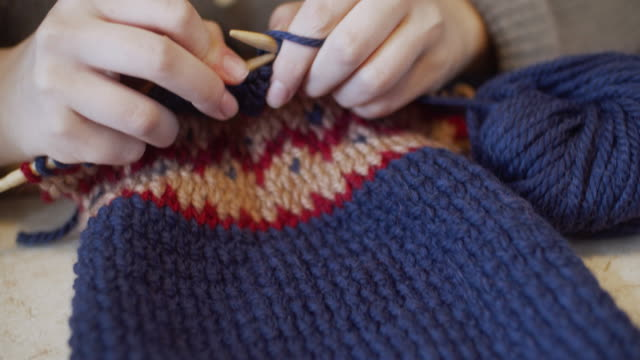 Close-up of Jacquard knitting
