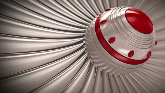 Close-up of jet engine turbine blades. CG loopable. video