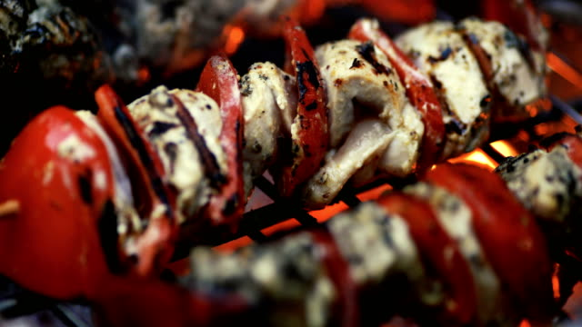 Close-up of lamb and vegetables skewers cooked with fire on a barbecue Close-up view of lamb and vegetables kebabs. They are cooking on a barbecue with fire. We can see the ember burning under the skewers. skewer stock videos & royalty-free footage