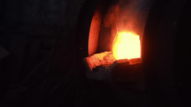 Close-up of large iron melting furnace on the old metallurgic factory or plant. Stock footage. Industrial details of metallurgic factory video
