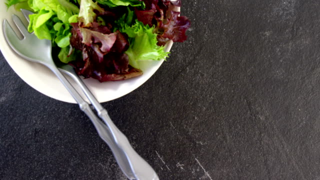 Close-up of lettuce in bowl video