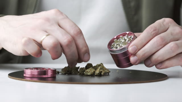 close-up of male hands using grinder with medical marijuana buds - grindare video stock e b–roll