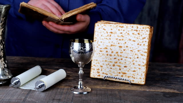 Closeup of Matzah on Plate which Passover Seder Plate with The seventh symbolic item used during the seder meal on passover Jewish holiday. video