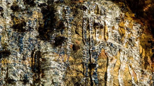 close-up of melting ice on rockface with running water drops - bergsrygg bildbanksvideor och videomaterial från bakom kulisserna