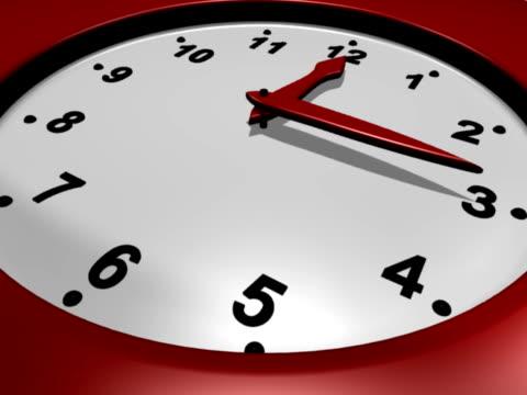 Close-up of Modern Wall Clock - Progressive (NTSC) Close-up of modern style wall clock.  Hour hand moves from 12 to 1 o'clock. wall clock stock videos & royalty-free footage
