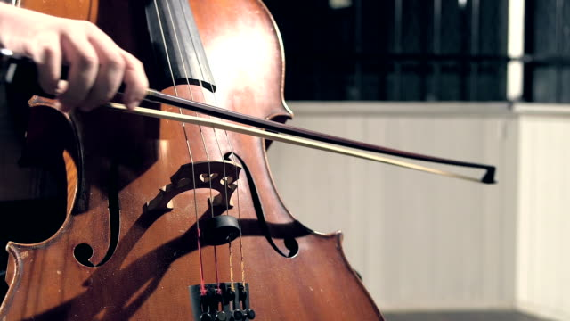Close-up of musician playing double bass Close-up view of a string instrument being played. We see the hand of the male musician holding the bow as he plays the double bass. classical concert stock videos & royalty-free footage