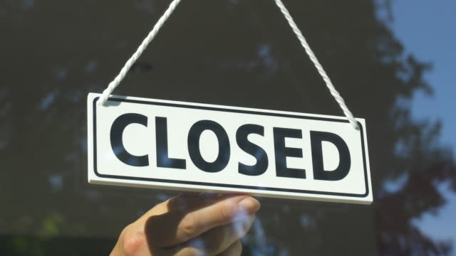 close-up of open/closed sign in store window.store closing. - foreclosure stock videos & royalty-free footage
