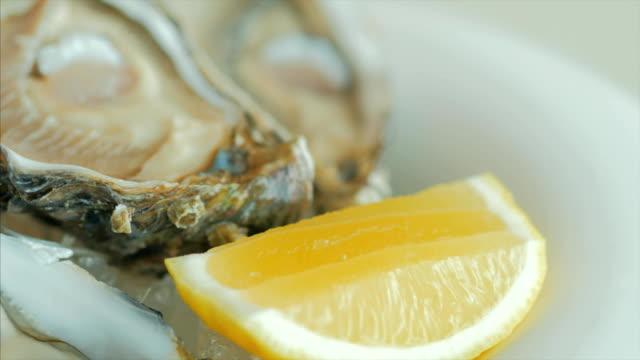vídeos y material grabado en eventos de stock de primer plano de ostras con limón en un hielo que hace girar la placa - comida española