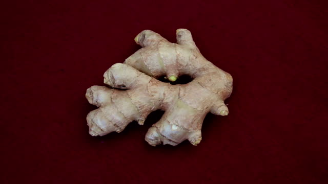 closeup of piece of ginger on a red rotating table video