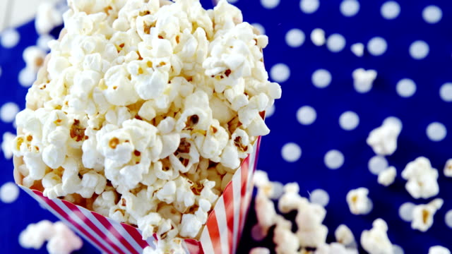 Close-up of popcorn with 4th july theme video