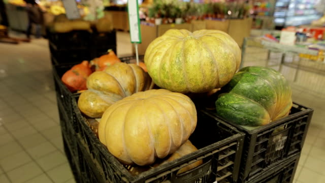 Close-up of pumpkin in organic section of supermarket video
