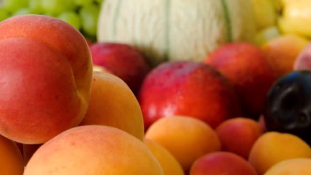 Closeup of ripe juicy apricots video