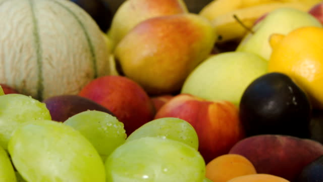 Closeup of ripe juicy green grapes video