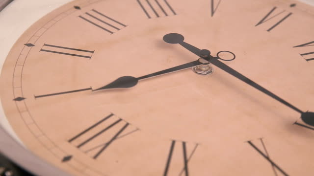 Close-up of rotating clock video