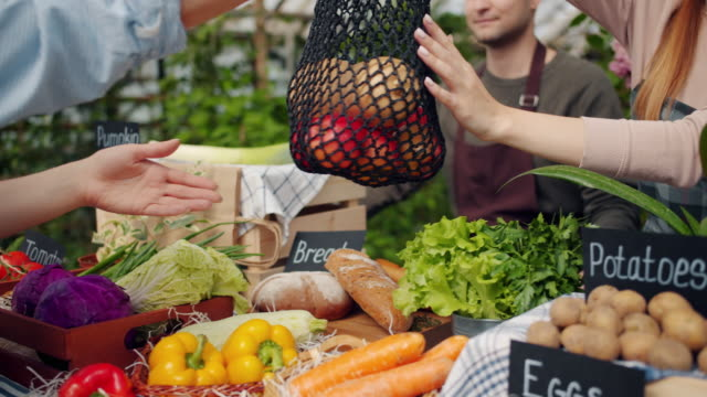 Close-up of salesperson giving bag of organic vegetables to buyer in farm market