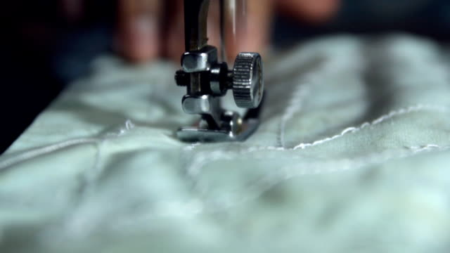 Closeup of sewing machine video