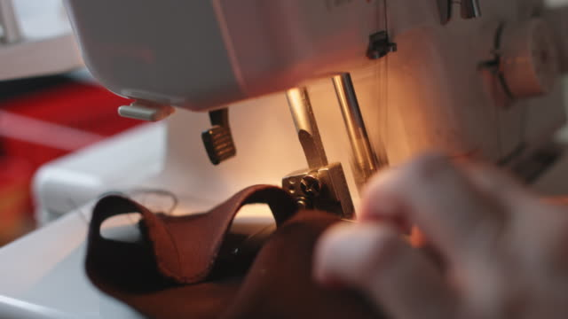 Close-up of sewing machine video
