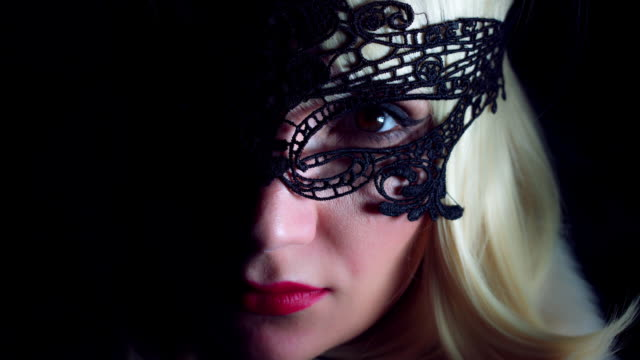 4K Close-Up Of Sexy Woman Face with Black Mask video