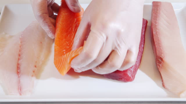 primo piano di fette di filetto di pesce fresco di salmone, tonno, ladra e polpo su un piatto - crudo video stock e b–roll