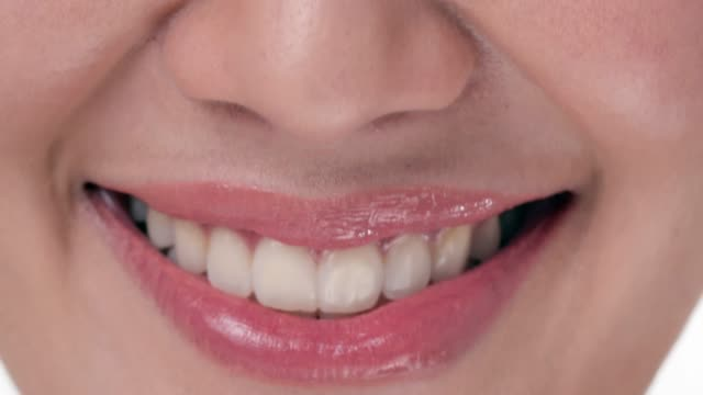 close-up of smiling woman .dental check-up - lingua bocca video stock e b–roll